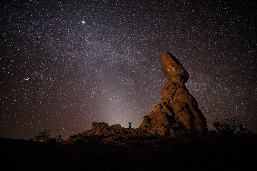 This image was taken at Balanced Rock inside Arches National Park and includes Zodiacal Light and the Milky Way. Photo: Brad Goldpaint (www.goldpaintphotography.com). Posted on Tumblr by the US Department of the Interior, 4/15/14.